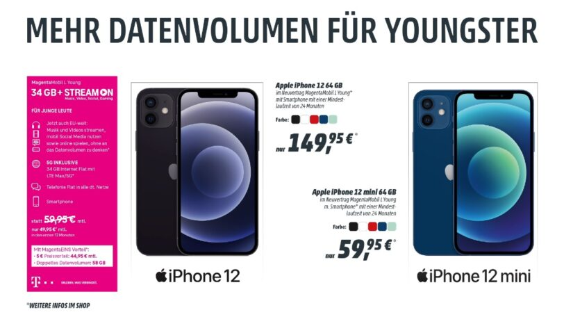 Magenta Mobil L Young inkl. iPhone 12 oder iPhone 12 Mini